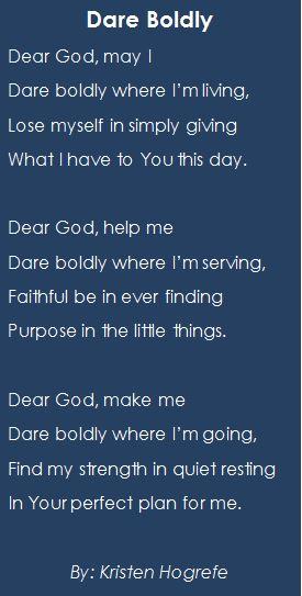 Dare Boldly poem